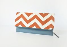 Fold Over Clutch, Zipper Pouch in Burnt Sienna Chevron - Bridesmaid, Maid of Honor Gift
