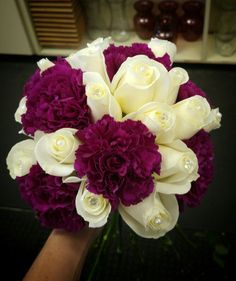 Bridal bouquet, sangria carnations and white roses
