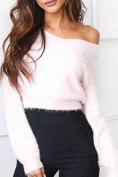 Pink off shoulder fluffy sweater!