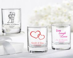 Personalized favors are memorable keepsakes for your guests and will guarantee that your event will not be forgotten! These favors can be used as either votive holders or as shot glasses. Whether you're headed to Vegas, honeymooning in Paris, or throwing a baby shower for your best friend, they can be imprinted with a variety of graphics that will work for just about any theme! Include names and event date to make the personalization complete. Choose from many different designs (see…