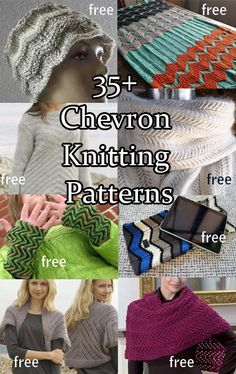 Chevron and ZigZag Knitting Patterns for hats, shawls, scarves, afghans, baby blankets, purses, and more. Most are free patterns