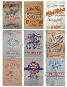 Vintage Flour, Sugar and Feed Sack Digital Collage Sheet - DIY Printable… Vintage Frases, Scrapbook Supplies, Scrapbooking, Sewing Projects, Projects To Try, Art Projects, Pallet Projects, Sewing Tips, Decoupage