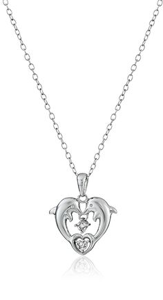 Sterling Silver Diamond-Accent Heart Dolphins Pendant Necklace -- See this great product.