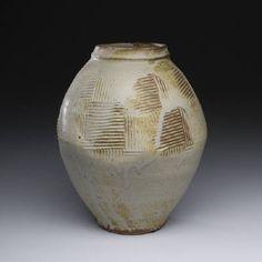 Artist: Warren MacKenzie, Title: Grey Vase w/ Stamping