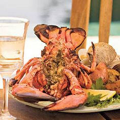 Try with Chardonnay, Sauvignon Blanc, or brut sparkling wine. Recipe for Grilled Split Lobster with Pesto Paleo Pesto, Pesto Recipe, Grilled Lobster, Grilled Fish, Grilled Seafood, Lobster Recipes, Seafood Recipes, Seafood Dishes, Fish And Seafood