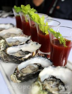 Oysters with Bloody Mary Shots