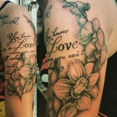 Image result for floral tattoo with script