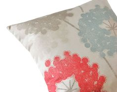Dandelions red, blue, dusty blue, taupe, 16 inch pillow cover, cushion cover, decorative pillow, throw pillow, designer pillow, toss pillow, $25.40