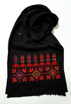 Palestinian hand embroidered black scarfSize: X Cross Stitch Bookmarks, Cross Stitch Art, Cross Stitching, Cross Stitch Embroidery, Embroidery Suits Design, Hand Embroidery Designs, Embroidery Patterns, Sewing Patterns, Palestinian Embroidery