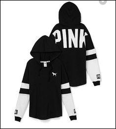 Victoria's Secret Pink - white, black Varsiety Hoodie