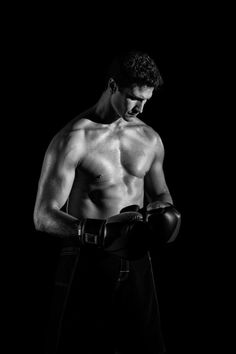 Topless Boxer Greyscale Photography