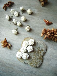 Decorative Flower Thumbtacks Push Pins Wedding Boards Rose Bud Set of 16 White Tacks Thumb Tack Message Boards Office Decor. $10.00, via Etsy.