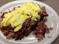 Amazing house-made corned beef hash at Slyman's Restaurant, Cleveland, OH
