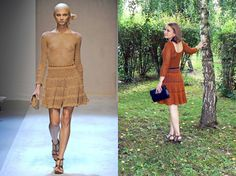 Caramel crochet dress inspired by Salvatore Ferragamo.