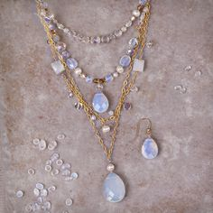 The Tabitha necklace from Holly Yashi is beautifully bridal and captures the essence of white sand beaches with its European crystal, rainbow moonstone, freshwater pearls and Bohemian glass.
