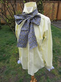 Upcycled Steampunk Clothing, White Rabbit Shirt and Bow Tie - Alice in Wonderland (Yellow Shirt with Grey and Yellow Cotton Print Neck Tie). $50.00, via Etsy.