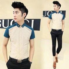Hot Sale 2014 Short-sleeve Shirt  Preppy Stylish Fancy Shirt Cheap Price Wholesale Men Clothes $24.28