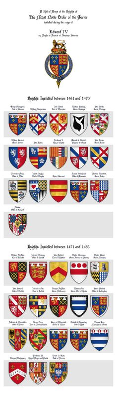 KING EDWARD IV - Roll of arms of the Knights of the Garter installed during his reign Art Print by hipgnosis Medieval World, Medieval Knight, Medieval Fantasy, History Medieval, Uk History, British History, Family History, Edward Iv, Order Of The Garter