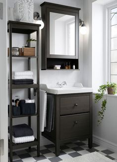 Bathroom Storage Make the most out of small bathroom spaces like using the HEMNES sink cabinet, shelf and mirror cabinet to stay organized in style. Bad Inspiration, Bathroom Inspiration, Bathroom Ideas, Bathroom Vanities, Budget Bathroom, Bathroom Remodeling, Mirror Bathroom, Bathroom Designs, White Bathroom