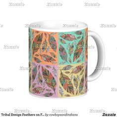 Tribal Design Feathers on Four Color Squares Coffee Mug