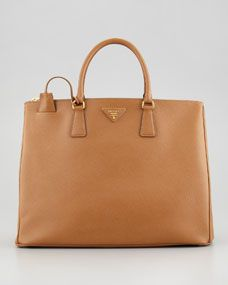 Saffiano Large Executive Tote Bag, Brown.  One Day.