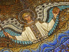 This photo of incredible mosaic art in the Palatine Chapel shows a beautiful example of mosaics in the early Christian church.  This chapel is what is left of Charlemagne's Palace in Aachen, Germany. The palace itself is gone, but the chapel was saved and has been incorporated into Aachen Cathedral