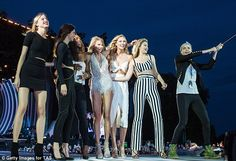 Star power: Kendall, Gigi, and Cara joined Taylor, 25, on stage along with Martha Hunt, Se...