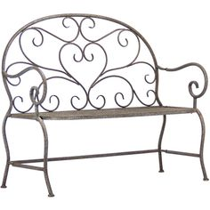 Scroll Metal Garden Bench (37.865 RUB) ❤ liked on Polyvore featuring home, outdoors, patio furniture, outdoor benches, home decor, metal outdoor furniture, metal garden bench, metal patio furniture, metal patio bench and green metal patio furniture