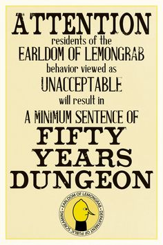 Adventure Time Earl of Lemongrab Dungeon Poster by dvanderbleek, $13.00