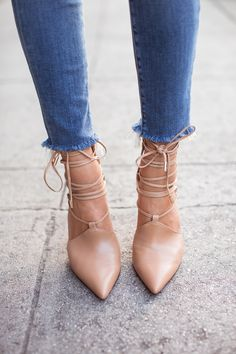 song of style - nude lace-up pumps www.redreidinghood.com