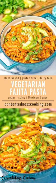This Vegetarian Fajita Pasta is entirely vegan and gluten free. Made with black beans for protein richness, lots of veggies cooked in a satisfying and creamy enchilada sauce. Makes an insanely satisfying dinner or lunch. Also great for make-ahead meal preparation, work and potlucks. #vegan #glutenfree #dairyfree #plantbased