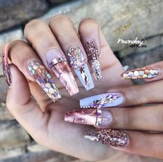rose gold nails with rose gold diamonds , coffin