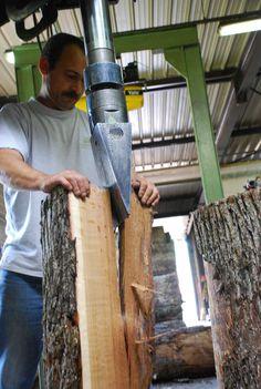Francois Freres Cooperage in Burgundy, France - splitting the log before making the staves Wine Barrels, Wine Cellar, Burgundy France, French Oak, Wine Making, Home Appliances, Riddling Rack, House Appliances, Appliances