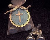 Personalized Hershey Kiss Baptism Favor Set, Christening Favor Set, Communion Favor Set, white cross on blue, set of 50. $62.00, via Etsy.