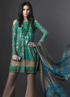 Sana Safinaz Heavy Silk Thread Embroidered Suit in Turquoise and Blue