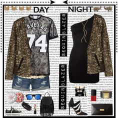 Day to Night _ sequins by karineminzonwilson on Polyvore featuring Balmain, Givenchy, DAY Birger et Mikkelsen, Aéropostale, Alejandro Ingelmo, Converse, STELLA McCARTNEY, Topshop, Moschino and Maison Margiela