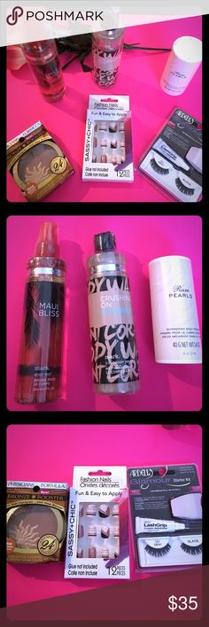 MAKEUP & BATH PRODUCTS MAUI BLISS by Avon body mist 6.7 oz,CRUSHING ON COCONUT by Avon body wash 8 oz,RARE PEARLS by Avon body powder 1.4oz,,PHYSICIAN FORMULA bronzer booster,24 hr wear,, FASHION NAILS, cream, black, coral,LASHES Demi black, 1 pair of lashes,adhesive and applicator mark Makeup