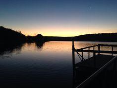 Lake Bixhoma in Oklahoma at dawn. Beautiful.