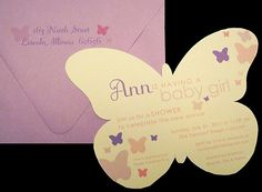 Butterfly inspired baby shower invitations
