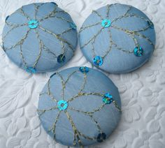 Blue sequinned flowers  3 fabric covered ♡ by EmbellishedLife2, $9.00