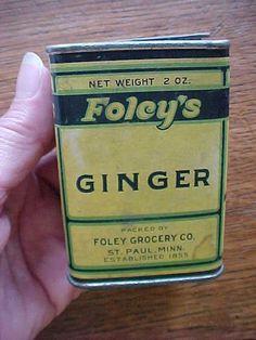 FOley Grocery St Paul MN GINGER Foley's Spice Tin can #Foleys