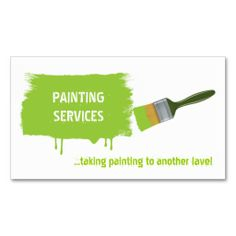 Painter%u2019s brush painting lime green business cards