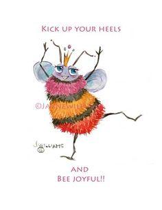 Notecards Queen Bee Joyful Original art print cards by Jayneart, Queen Bee Quotes, Bee Facts, Bee Hive Plans, Bee Images, I Love Bees, Bee Creative, Cute Bee, Bee Happy, Bees Knees