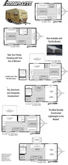 CampLite travel trailer - 2011 floorplans small picture, click for bigger picture
