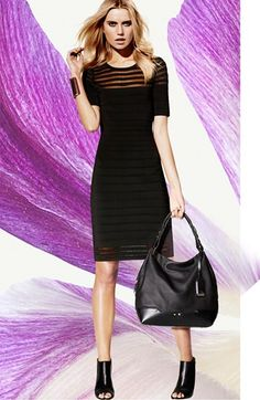 Vince Camuto Shadow Stripe Grid Stitch Sweater Dress | Nordstrom