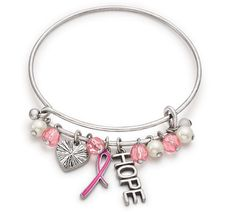 So sweet, Avon's Breast Cancer Crusade silvertone charm bracelet, with it's little pink and silver charms. It is still available (as of August, 2016) at https://vmahoney.avonrepresentative.com/ #BreastCancerCrusade #PinkRibbon