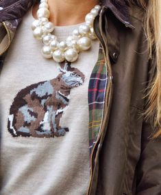 Talbots Hare sweater, barbour jacket, adia kibur statement pearl necklace