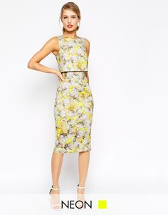 ASOS Neon Yellow Crop Top Pencil Dress - Could be perfect for a dressier day at work or a day wedding this summer.