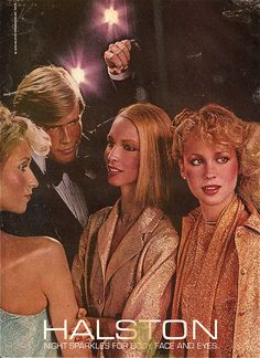 Halston ad, disco chic, late 70s
