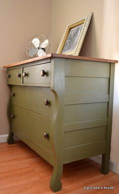 Antique Dresser in Olive by Annie Sloan Chalk Paint by AGBStudio, $550.00